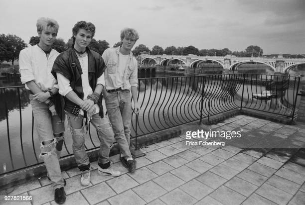 Group portrait of AHa at Eel Pie Studios during the making of their first album Twickenham London 1984 LR Pal Waaktaar Morten Harket Mags Furuholmen