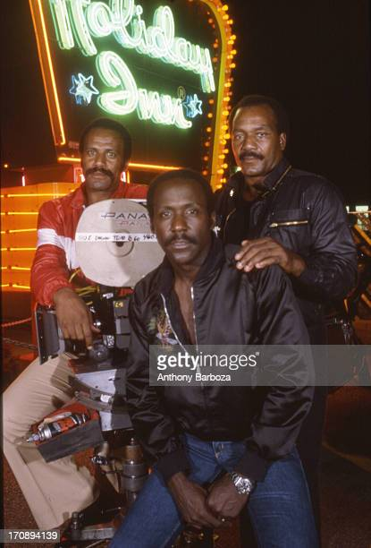 Group portrait of American actors Fred Williamson Richard Roundtree and Jim Brown on the set of their film 'One Down Two to Go' 1976