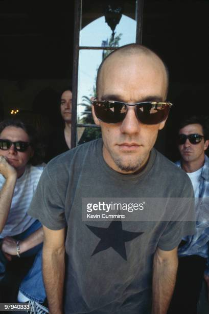 Group portrait of American band REM Left to right are bassist Mike Mills guitarist Peter Buck singer Michael Stipe and drummer Bill Berry and in Los...