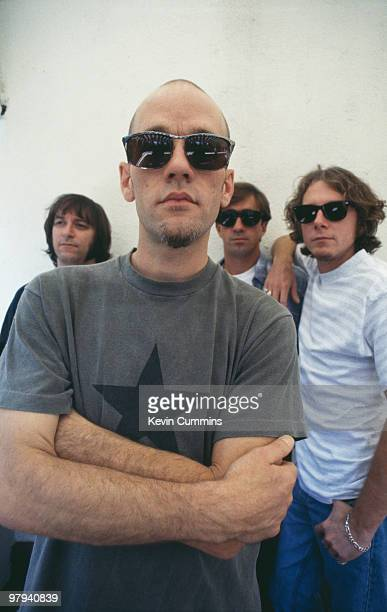 Group portrait of American band REM Left to right are guitarist Peter Buck singer Michael Stipe drummer Bill Berry and bassist Mike Mills in Los...