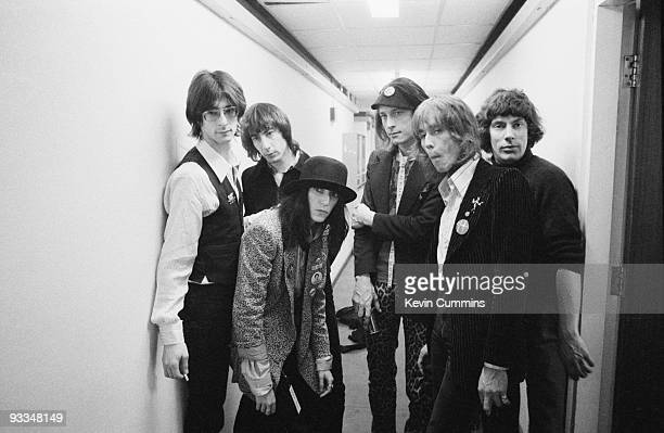 Group portrait of American band the Patti Smith Group backstage at the filming of the BBC television show 'The Old Grey Whistle Test' in Manchester...