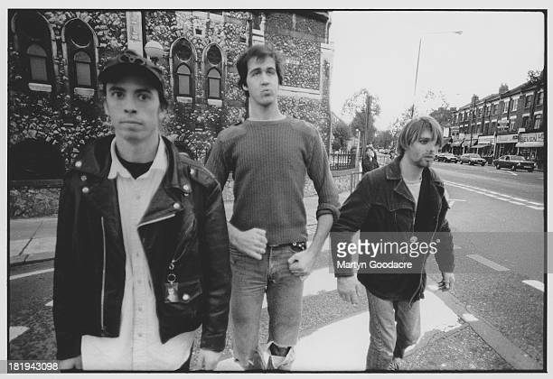 Group portrait of American grunge band Nirvana in Shepherd's Bush London October 1990 LR Dave Grohl Krist Novoselic and Kurt Cobain