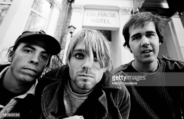 Group portrait of American grunge band Nirvana in Shepherd's Bush, London, October 1990. L-R Dave Grohl, Kurt Cobain and Krist Novoselic.