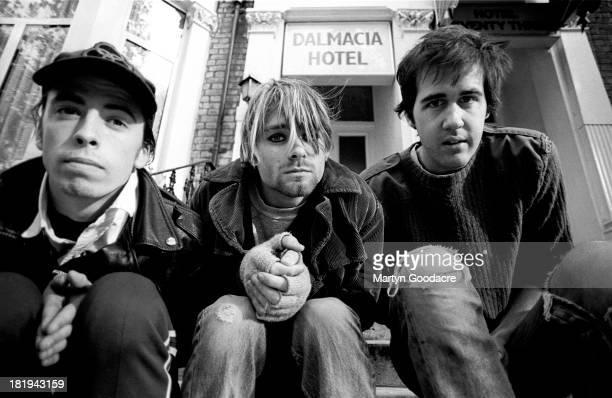 Group portrait of American grunge band Nirvana in Shepherd's Bush London October 1990 LR Dave Grohl Kurt Cobain and Krist Novoselic