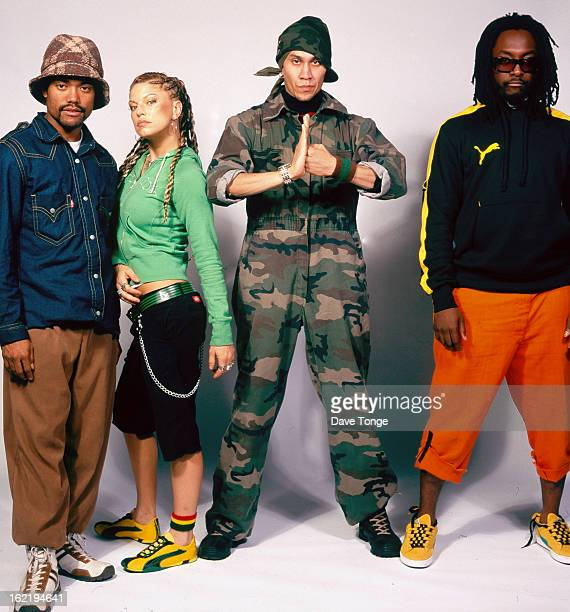 Group portrait of American hip hop group Black Eyed Peas London circa 2003 Left to right apldeap Fergie Taboo and william
