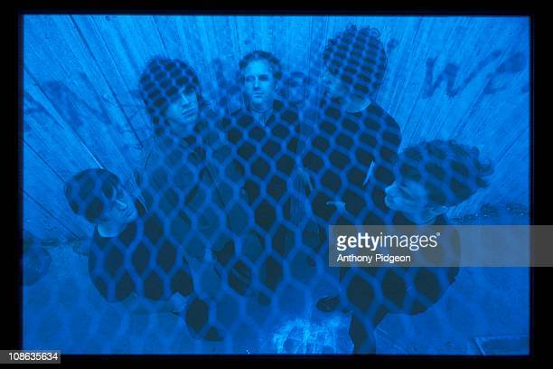 Group portrait of American indie rock band The Faint in San Francisco, California, USA on 5th October 2001.