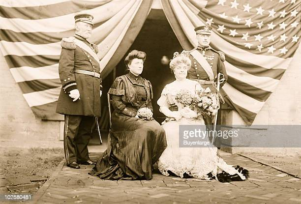 Group portrait of American military couples from left General Frederick Grant his wife Mrs Ida Marie Honore Mrs Louise Adriana Wood and her husband...