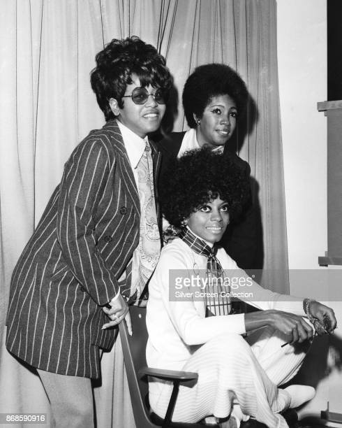Group portrait of American Pop and Rhythm Blues group the Supremes during a press conference in promotion of their their 'Love Child' album November...