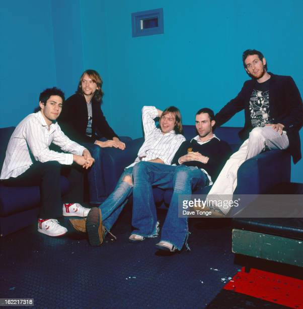 Group portrait of American pop rock band Maroon 5 backstage at a TV show London 2004 LR Ryan Dusick James Valentine Mickey Madden Adam Levine and...