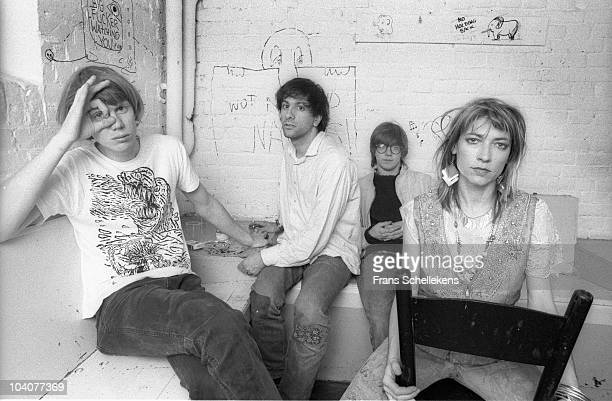 A group portrait of American rock band Sonic Youth Thurston Moore Lee Ranaldo Steve Shelley and Kim Gordon posing backstage at Paradiso on May 11...