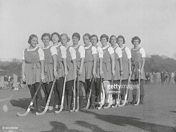 A 1936 group portrait of an AllAmerican women's field hockey team including left to right Mrs Catherine K Clegg Miss Betty Richey Miss Betty Taussig...