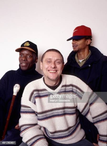Group portrait of Black Grape Shaun Ryder Kermit and Psycho during the recording of Black Grape's album England's Irie' at Box Studios in Wiltshire...