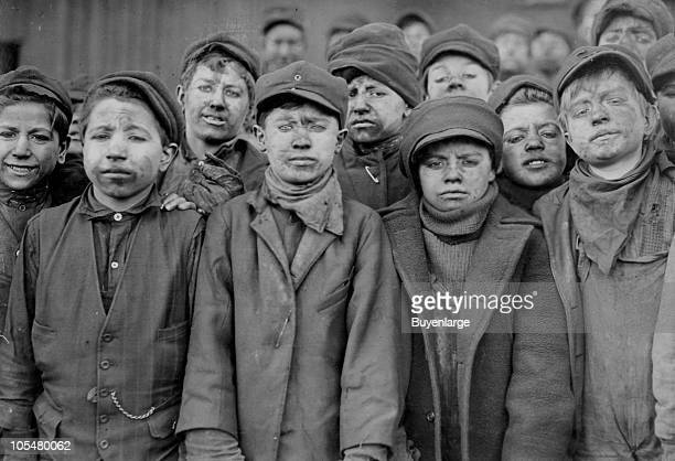 Group portrait of boys working in Breaker Pennsylvania Coal Company Hughestown Borough Pittston PA 1908