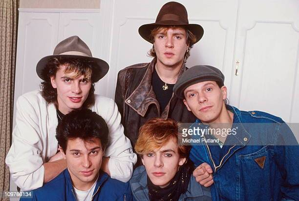 Group Portrait of British band Duran Duran in 1981 Left to right bassist John Taylor singer Simon Le Bon drummer Roger Taylor keyboard player Nick...