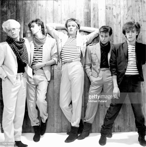 Group Portrait of British band Duran Duran in London England in 1981 Left to right guitarist Andy Taylor bassist John Taylor singer Simon Le Bon...