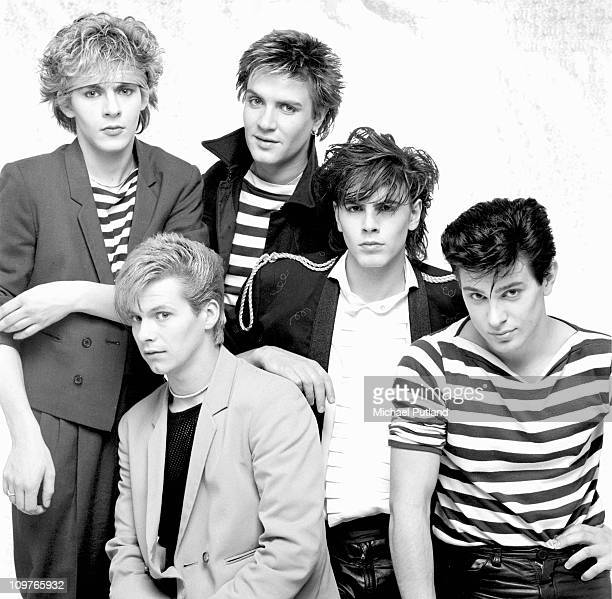 Group Portrait of British band Duran Duran in London England in 1981 Left to right are keyboard player Nick Rhodes guitarist Andy Taylor singer Simon...
