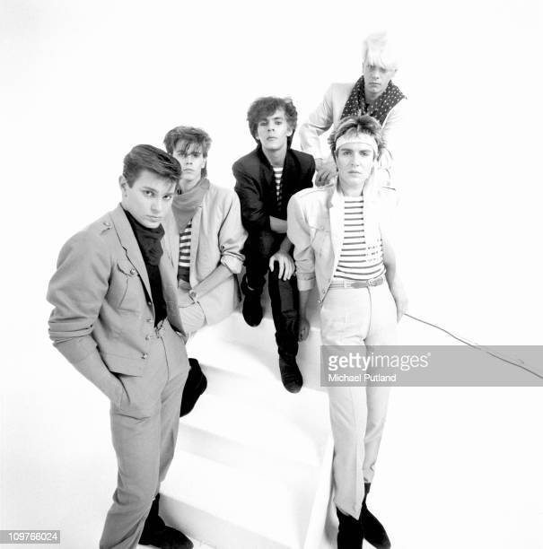 Group Portrait of British band Duran Duran in London England in 1981 Left to right drummer Roger Taylor bassist John Taylor keyboard player Nick...