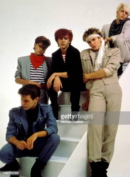 Group Portrait of British band Duran Duran in London England in 1981 Left to right are drummer Roger Taylor bassist John Taylor keyboard player Nick...
