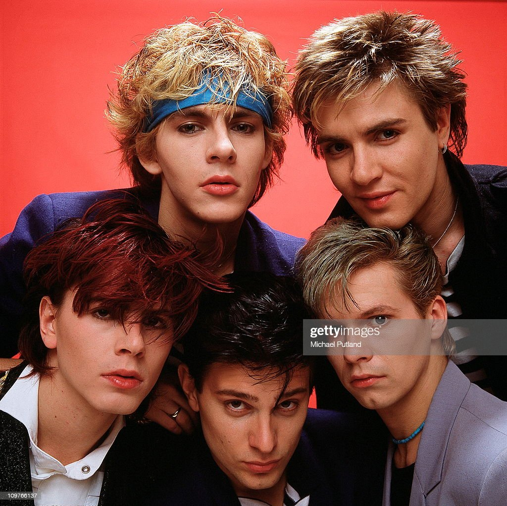 Group Portrait of British band Duran Duran in London, England in 1981. Left to right are (back) keyboard player Nick Rhodes, singer Simon Le Bon, (front) bassist John Taylor, drummer Roger Taylor and guitarist Andy Taylor.