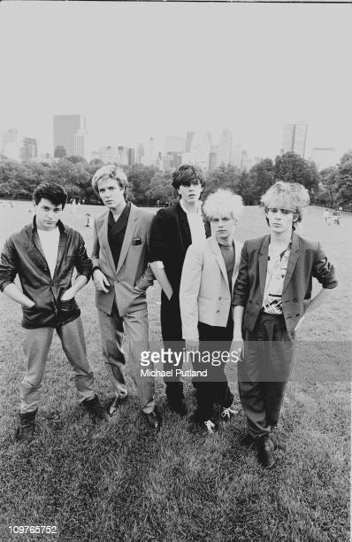 Group Portrait of British band Duran Duran in New York City in 1981 Left to right are drummer Roger Taylor singer Simon Le Bon bassist John Taylor...
