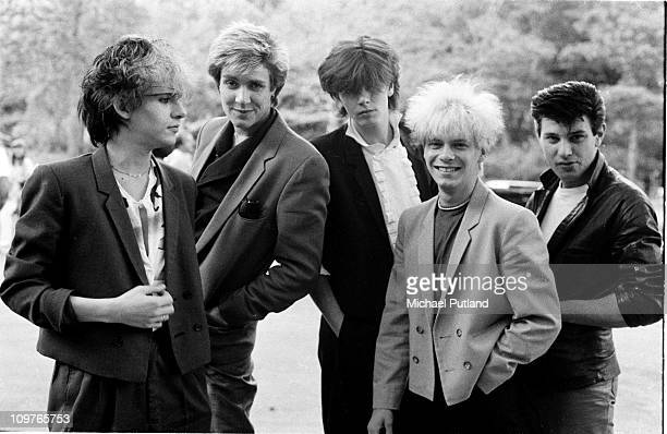 Group Portrait of British band Duran Duran in New York City in 1981 Left to right are keyboard player Nick Rhodes singer Simon Le Bon bassist John...