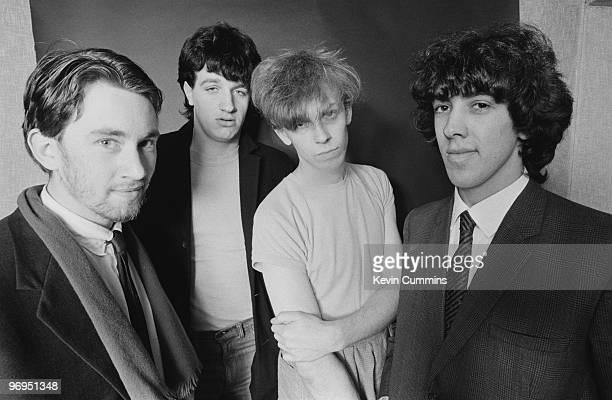 Group portrait of British band the Teardrop Explodes with singer Julian Coper taken on October 11 1979