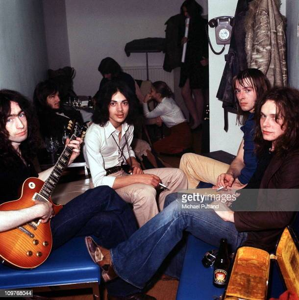 Group portrait of British rock band Free backstage in 1972 Left to right are singer Paul Rodgers bassist Andy Fraserdrummer Simon Kirke and guitarist...