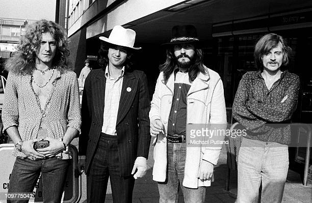 Group portrait of British rock band Led Zeppelin on June 05 1973 Left to right are singer Robert Plant guitarist Jimmy Page drummer John Bonham and...