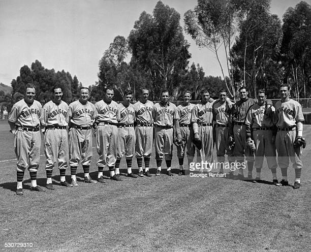 Group portrait of Chicago Cubs players all over six foot tall Pictured are Harold Sueme Clyde Shoun Gabby Hartnett James Carleton Joe Marty Curtis...