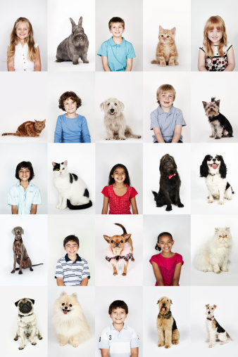 Group portrait of children and pet cats and dogs - gettyimageskorea