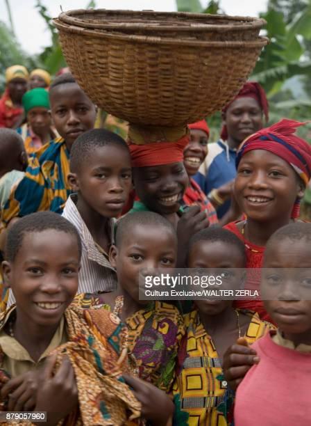 Group portrait of children in traditional clothing, Masango, Cibitoke, Burundi, Africa
