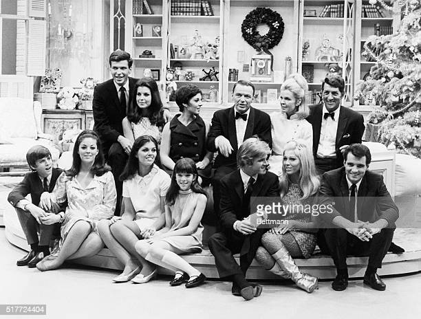 A group portrait of Dean Martin and his family with Frank Sinatra and his family on The Dean Martin Show