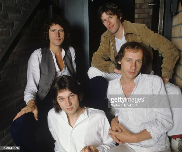 A group portrait of Dire Straits John Illsley Pick Withers Mark Knopfler and David Knopfler in Amsterdam Netherlands 1978