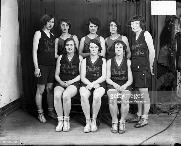 Group portrait of eight members of the Taylor Trunks women's basketball team Chicago Illinois 1926