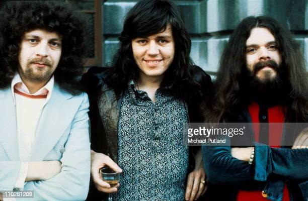 Group portrait of Electric Light Orchestra, ELO, 25th April 1972, L-R Jeff Lynne, Bev Bevan, Roy Wood.
