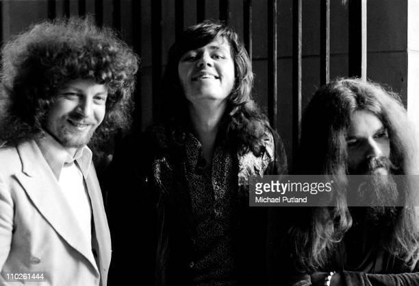 Group portrait of Electric Light Orchestra, ELO on 25th April 1972, L-R Jeff Lynne, Bev Bevan, Roy Wood.
