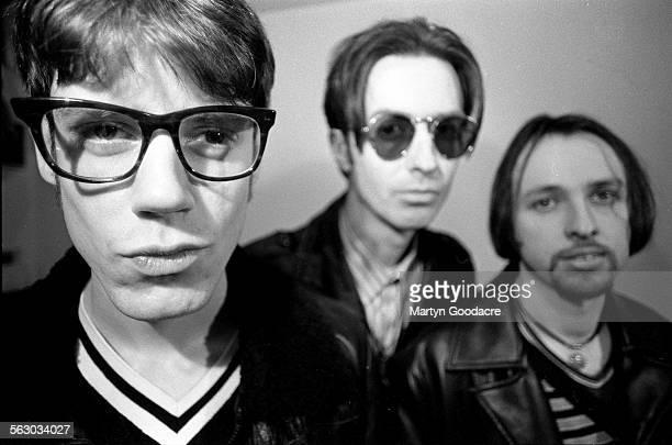 Group portrait of English indie band Perfume London United Kingdom 1993 Line up includes Mick McCarthy Tony Owen and John 'Johnny Wadd' Waddington