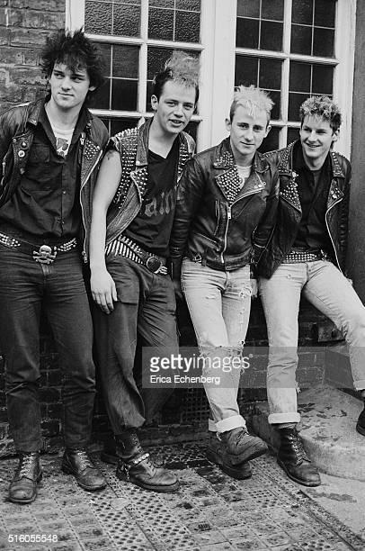 Group portrait of English punk band Abrasive Wheels Hammersmith London United Kingdom 1983