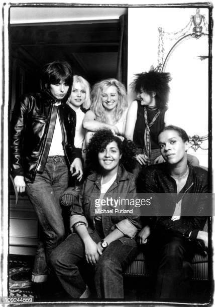 A group portrait of female punk and new wave musicians in London LR Chrissie Hynde of The Pretenders Debbie Harry of Blondie Viv Albertine of The...