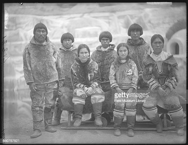 Group portrait of First Nations Inuit men women and children including Nancy Columbia third from right the girl who was born at the World's Columbian...