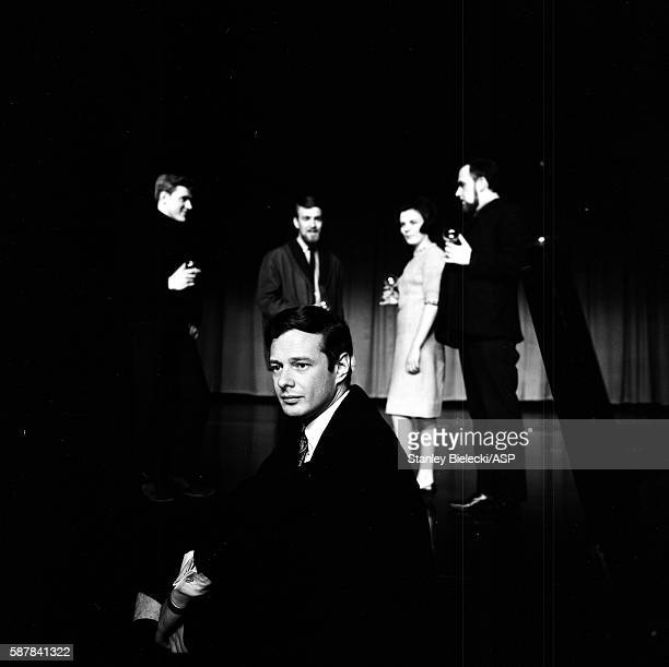 Group portrait of folk group The Silkie with their manager Brian Epstein, London, circa 1965.