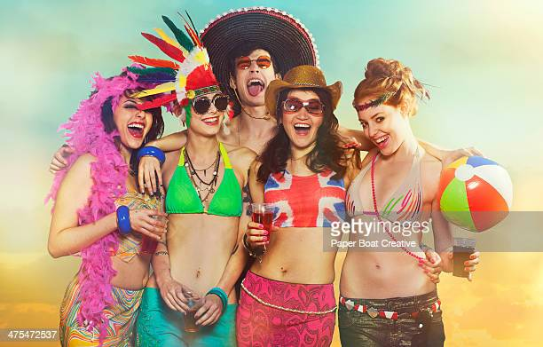 Group portrait of friends at a summer festival