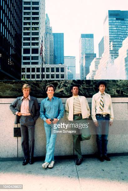 Group portrait of from left American actors Robert Redford George Segal Ron Leibman Paul Sand on the set of the film 'The Hot Rock' New York New York...