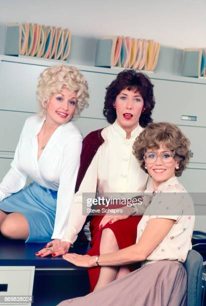 Group portrait of, from left, American actresses Dolly Parton , Lily Tomlin , and Jane Fonda on the set of the film '9 to 5' , California, 1980.