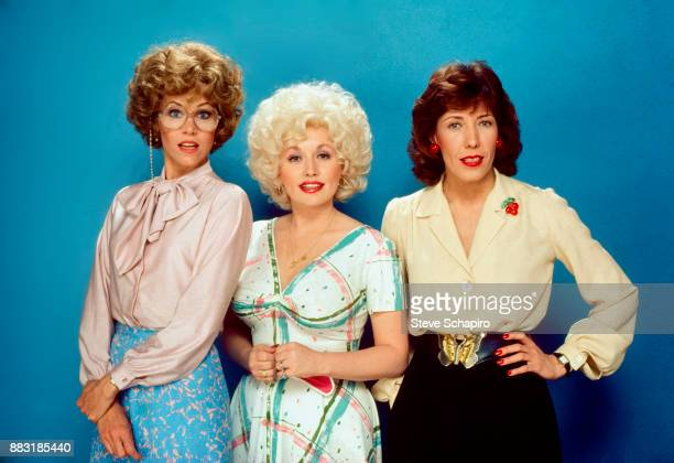 Group portrait of, from left, American actresses Jane Fonda , Dolly Parton , and Lily Tomlin , as pose in costume for the film '9 to 5' , Los...