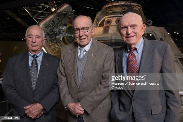 Group portrait of from left American astronauts William Anders James Lovell and Frank Borman all of whom participated in NASA's Apollo 8 mission as...