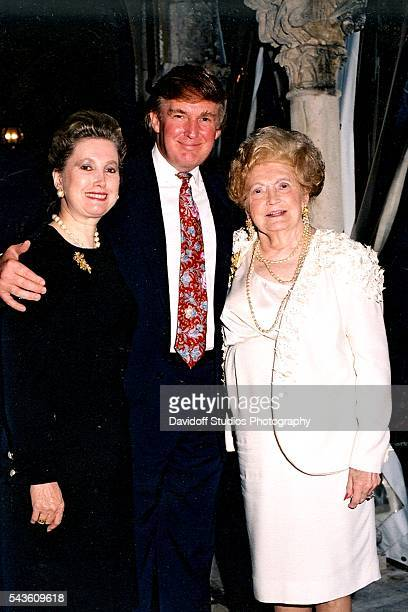 Group portrait of from left American banker Elizabeth Trump Grau her brother businessman Donald Trump and their mother Mary Trump as they pose...