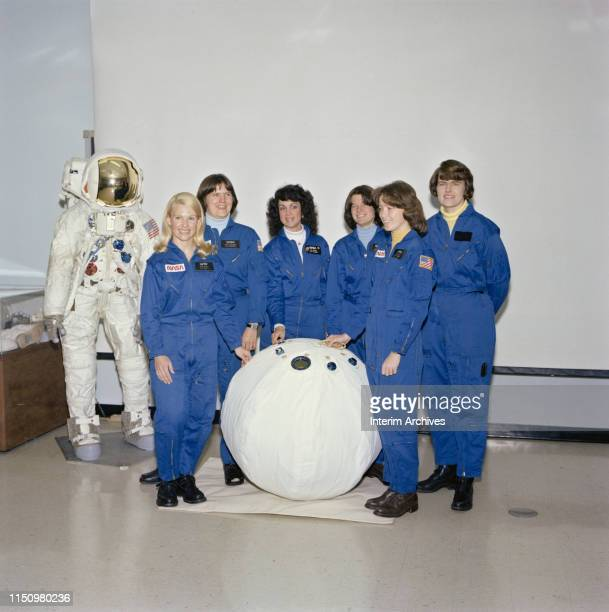 Group portrait of from left astronaut candidates Rhea Seddon Kathryn Sullivan Judth Resnik Sally Ride Anna Lee Fisher and Shannon Lucid as they pose...