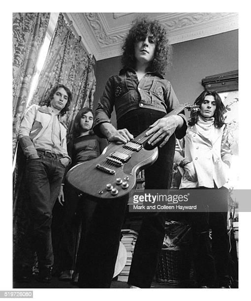 Group portrait of glam rock group T Rex London 1971 LR Steve Currie Bill Legend Marc Bolan Mickey Finn
