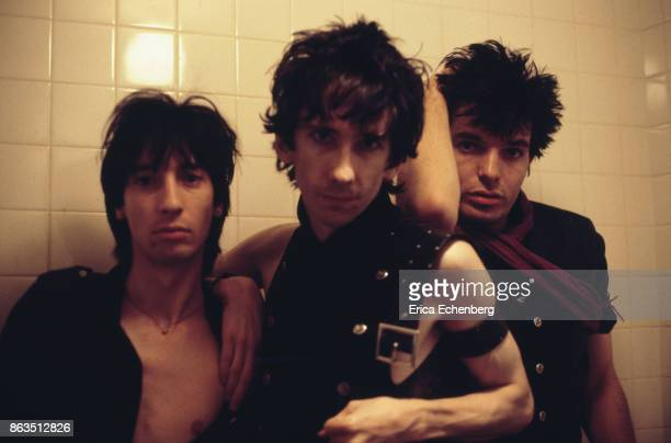Group portrait of Goth rock supergroup Lords Of The New Church west London 1982 LR Dave Tregunna Stiv Bators Brian James